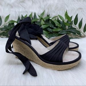 Volatile Ankle Wrap Black Espadrille Wedge Heel 8